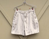 90s vintage Tan High Waist Cotton Safari Shorts / St. John's Bay