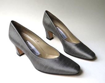 vintage Etienne Aigner Grey Fabric Pumps NOS / Aigner Grey Raw Silk Fabric Pumps / made in Spain