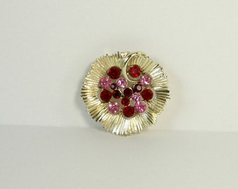 Vintage Gold Tone With  Red and Pink Rhinestones Brooch. Rhinestones Pin