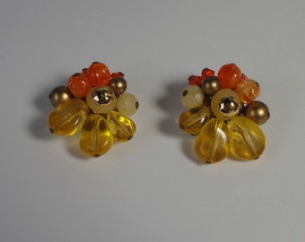 Mid Century Gold tone with  Orange and Yellow Lucite  Beads Clip Earrings. W. Germany.