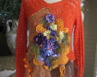 Crochet Orange Crop Top, Art to Wear, Shabby Chic, Boho,  Fantasy, Fairy ,  Romantic.