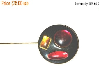 50% OFF Vintage Stick Pin  Red Yellow Cabochons Black Enamel