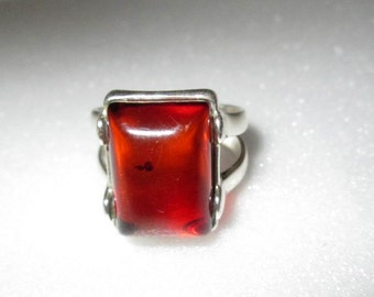 RING  - Baltic  AMBER -  Estate Sale - 925 - Sterling Silver - Size 5    Brown 86