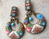 Portugal  Antique Azulejo Tile Earrings with Vintage Italian Micro Mosaic Clips - Albergaria-a-Velha OOAK Eclectic Bohemian Turquoise