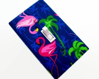 Flamingos Light Switch Cover - Pink Flamingos Switchplate - Bedroom Decor - Teen Switch Plate - Flamingo on Blue Switch Plate - Beach House