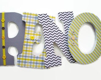 Nursery Wood Letters - Yellow Grey Wood Letters - Gender Neutral Nursery - Wood Wall Letters Baby Room - Baby Nursery Letters - Baby Shower