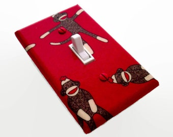 Sock Monkeys Light Switch Plate Cover - Sock Monkeys Red Background Light Switch Cover - Funky Monkey - Childrens Room Decor - Monkey Switch