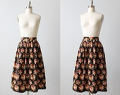 Vintage 1980s Floral Print Midi Skirt /  Cotton /  Pockets