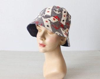 SALE Cotton Bucket Hat / Vintage 1960s Novelty Bucket Hat / Sun Hat / Floppy Hat / Beach Hat