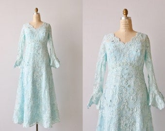 Vintage Priscilla of Boston Lace Dress Gown / 1970s Boho Lace Formal Dress / Blue Wedding Dress