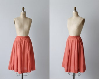 Coral Pink Skirt / Midi Skirt / 1960s Skirt / Box Pleated Skirt / Calypso
