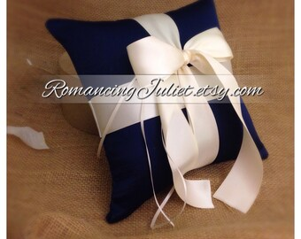 Romantic Satin Ring Bearer Pillow...You Choose the Colors...Buy One Get One Half Off..shown in navy blue/ivory