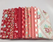 SUMMER SALE - Half Yard Bundle (12) - Vintage Picnic in Red and Pink - Bonnie and Camille - Moda Fabrics