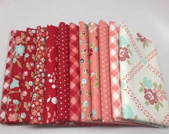 CHRISTMAS IN JULY Sale - Half Yard Bundle (12) - Vintage Picnic in Red and Pink - Bonnie and Camille - Moda Fabrics