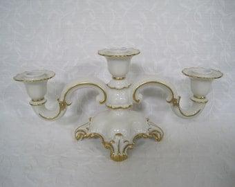 Efchenbach La Reine Porcelain Candelabra Candle Holder 3-Arm Ornate Germany 1940's RARE