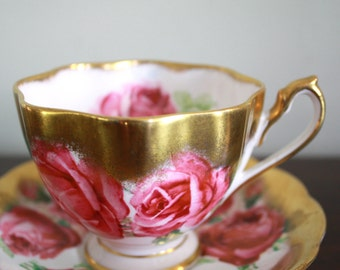 Antique Queen Anne Bone China Pink Rose and Gold Teacup and Saucer