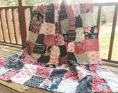 Quilt, king queen full twin, Rag Quilt, YOU CHOOSE SIZE, Skopelos fabrics, pink navy gray and aqua, comfy cozy handmade bedding