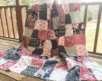 Quilt, king queen full twin, Rag Quilt, YOU CHOOSE SIZE, Skopelos fabrics, pink navy gray and aqua, comfy cozy handmade bedding