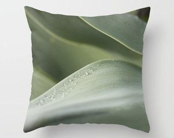 Agave photo pillow, nature pillow, abstract foliage photography, gray green design green agave cushion, modern decor, sleek pillow design