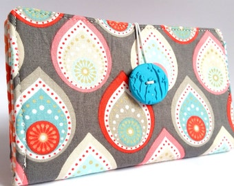 Teardrop Tampon and Pad Privacy Clutch - Salmon Pink Aqua Gray - Paisley Drops