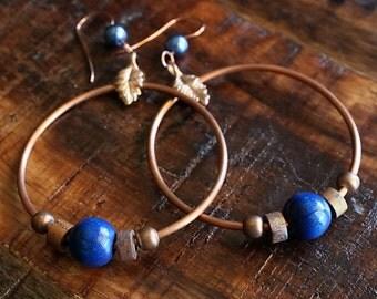 Bohemian, Celtic Jewelry, Copper Hoop Earrings