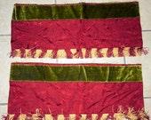 Winter SALE - Sweet Vintage Fabric Silk Velvet Fabric Damask Fringe Borders Pair