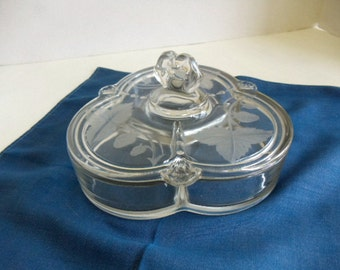 Covered Glass Partitioned Candy Dish