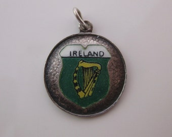 Vintage Ireland Enamel Travel Shield Charm Made in Germany