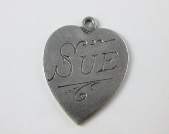 Charm, Sterling Silver, Antique, Inscribed Sue, Sweet Heart Charm, Engraved, Token Of Love, Silver Heart Charm