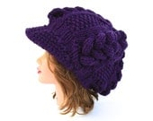 Cable Knit Cap - Women's Newsboy Hat - Slouchy Visor Tam - Dark Purple Hat With Brim - Chunky Headwear - Brimmed Beanie - Knit Accessories