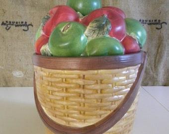 ceramic basket of apples cookie jar large