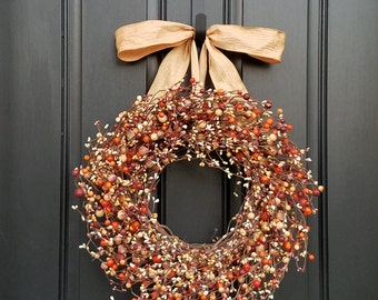 Autumn Harvest, Fall Berry Wreath, Harvested Berries, Fall Wreaths, Autumn Decor, Berry Wreaths