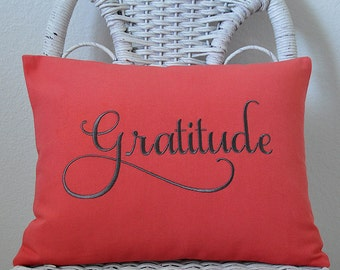 Gratitude Pillow Cover Inspirational pillow INSERT INCLUDED. Choose your  Fabric Color.