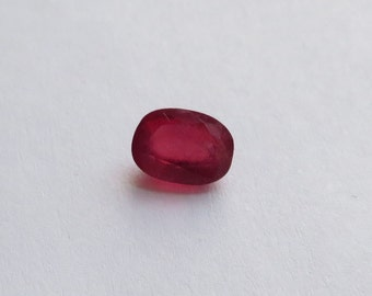 1.1 carat loose Natural Ruby, 7x5mm 3.2mm deep, translucent rich red, step cut pavilion, radiant cut crown