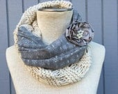 Off White Scarves ,Scarves,  knit scarf, Cowl Scarf, Grey fabric off white yarn , winter - fall women accessories, chunky infinity cowl