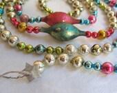 "SALE Vintage Mercury Glass Bead Garland Handmade/Upcycled Pink/Silver/Blue OOAK 72"" (#4)"