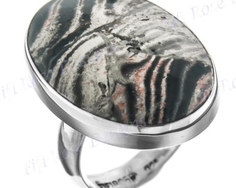 Authentic Oval Botswana Agate 925 Sterling Silver Adjustable Sz 9 Ring