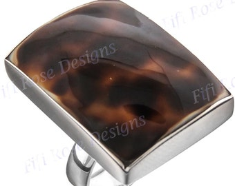 Square Tiger Cowry 925 Sterling Silver Adjustable Sz 6 Ring
