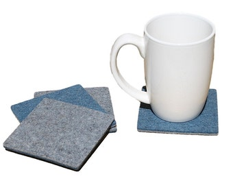 Square Drink Mat Coasters 5mm Thick Merino Wool Felt Housewarming Gift Reversible Blue and Grey