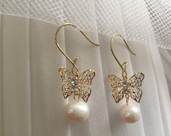 Gold Butterfly with Diamonds and Real Pearls Earrings, Party Fun Accessories, Wedding Party Jewelry, Bridesmaids Accessories