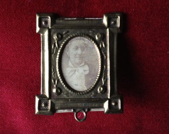 Small antique french brass frame, pendant, relic