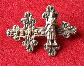 Joan of arc brass brooch