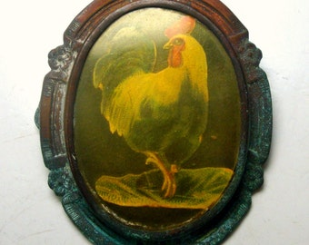 Vintage Funky Rooster Pin, Vertigris Shabby Frame with a Lovely old Faded Domestic Fowl Pic Brooch, I See the Farm Gal Mucking Her Stalls