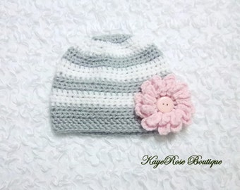 3 to 6 Month Old Baby Girl Crochet Pink Flower Hat Gray and White Stripes