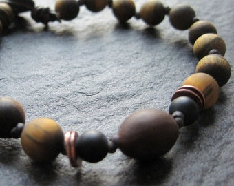 warrior of peace - matte tiger eye, onyx, lotus seed & copper