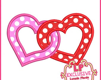 Linked Hearts Applique 4x4 5x7 6x10 Machine Embroidery Design