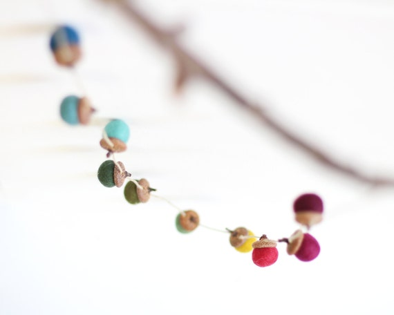 Felted Acorn Garland  - ten colorful handfelted acorns on hemp string