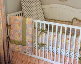 Baby Girl Crib Bedding Set Princess Nursery Peach and Gold Ready to Ship