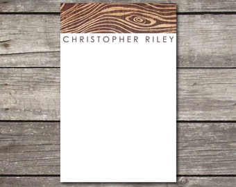 Personalized Woodgrain Notepad Teacher Gift Coworker Gift Gifts for Men or Office Supply