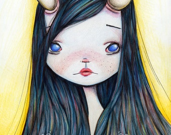 ACEO/ ATC Artists Trading Card - 'Lonely Girl' - Little girl with broken horn - small sized artwork by Jessica von Braun